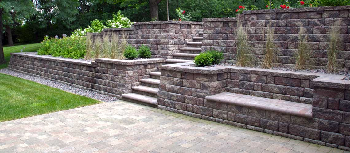 Hardscapes and custom walkways landscape design for Block wall landscape design